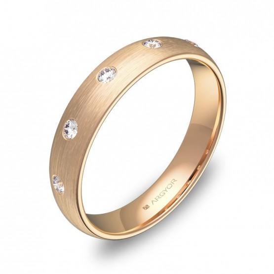 Alianza de 4,0mm en oro rosa satinado con diamantes A0140S5BR