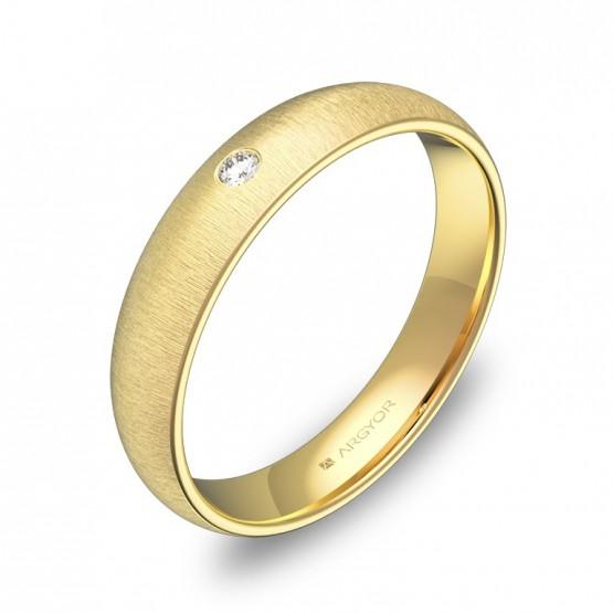 Alianza de media caña gruesa 4mm en oro rayado 1 diamante A0140T1BA