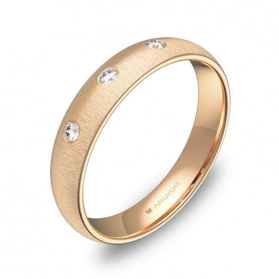 Alianza de media caña gruesa 4mm en oro rosa con diamantes A0140T3BR