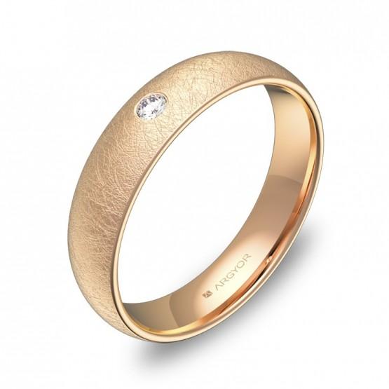 Alianza de media caña 4,5mm en oro rosa hielo con diamante A0145H1BR