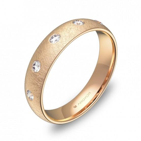 Alianza de media caña gruesa en oro rosa con diamantes A0145H5BR