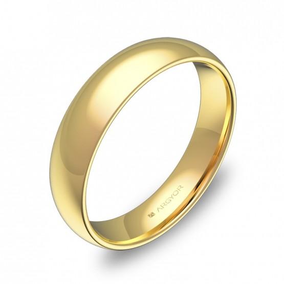 Alianza de media caña gruesa 4,5mm en oro amarillo pulido A0145P00A
