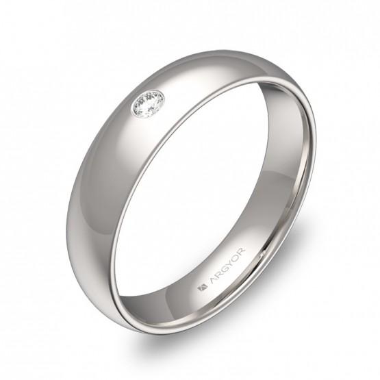 Alianza de oro blanco pulido 4,5mm con diamante A0145P1BB