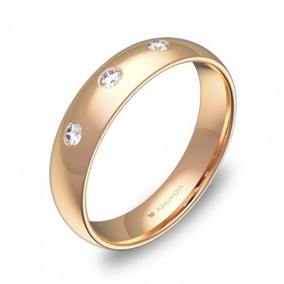 Alianza de media caña 4,5mm oro rosa pulido con diamantes A0145P3BR