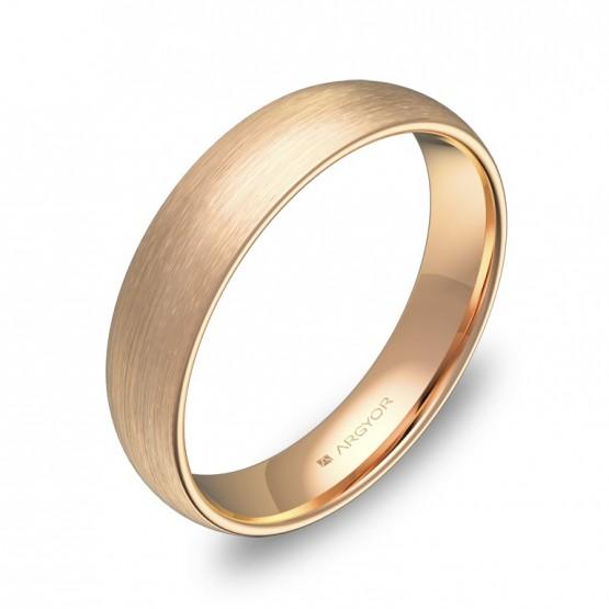 Alianza de boda de media caña gruesa en oro rosa satinado A0145S00R