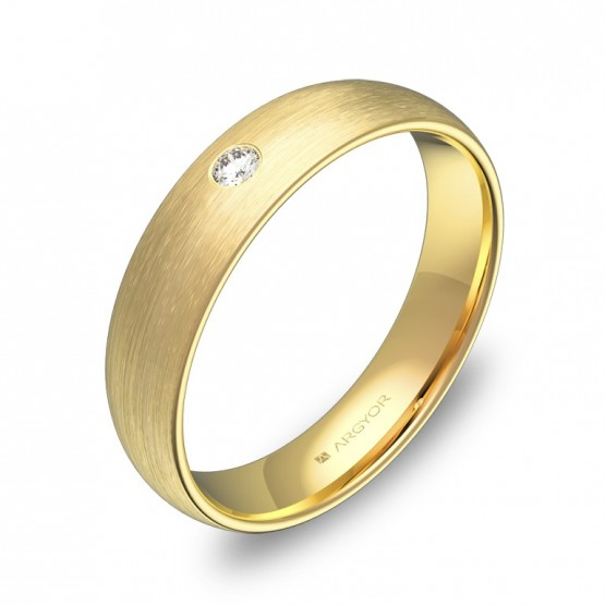 Alianza de boda 4,5mm en oro amarillo satinado 1 diamante A0145S1BA