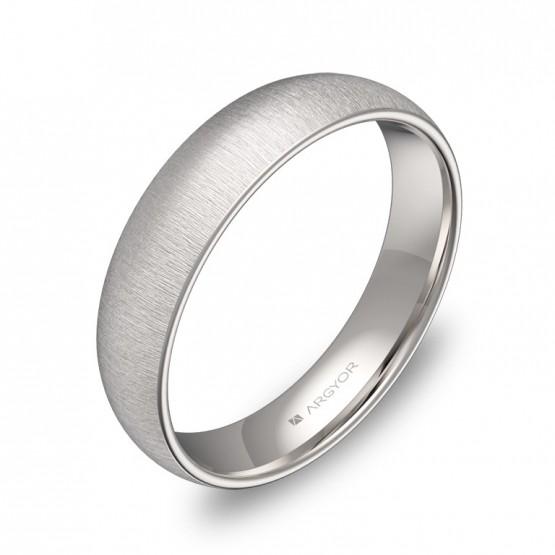 Alianza de boda media caña gruesa 4,5mm oro blanco rayado A0145T00B
