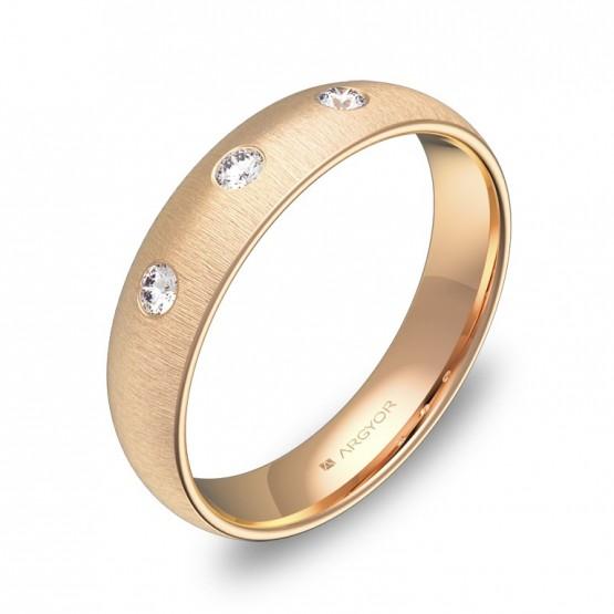 Alianza de media caña gruesa en oro rosa con diamantes A0145T3BR