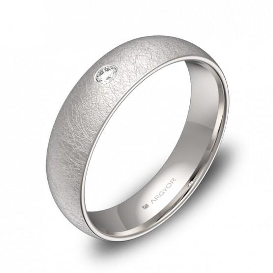 Alianza de media caña gruesa en oro blanco con diamante A0150H1BB