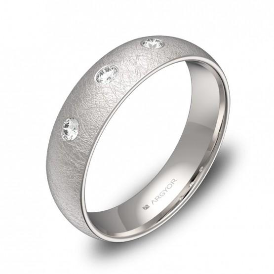 Alianza de boda oro blanco hielo con diamantes A0150H3BB