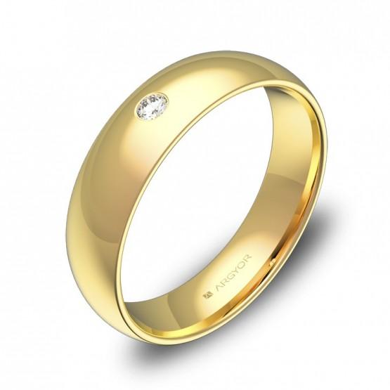 Alianza de boda 5,0mm en oro amarillo pulido con diamante A0150P1BA