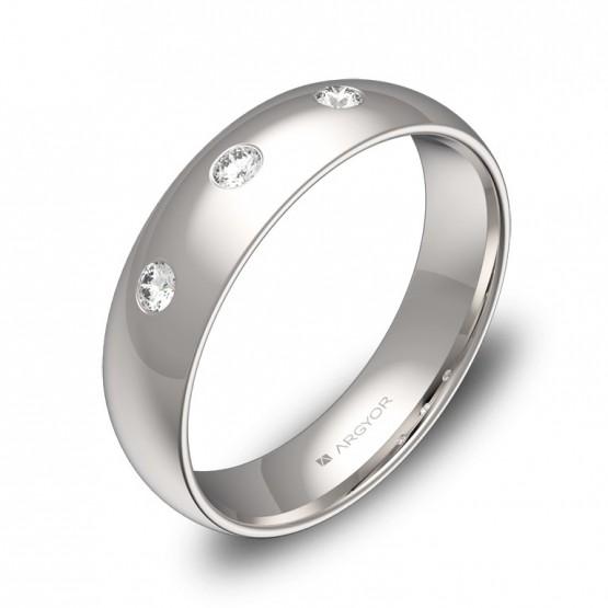 Alianza de media caña gruesa oro blanco pulido 3 diamantes A0150P3BB