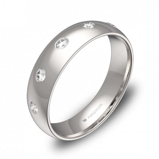 Alianza de boda  5,0mm en oro blanco pulido con diamantes A0150P5BB