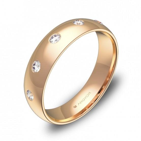 Alianza de boda oro rosa media caña gruesa con diamantes A0150P5BR