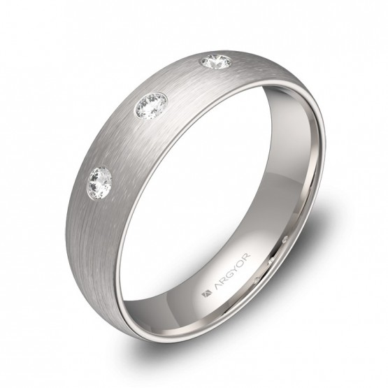 Alianza de boda 5,0mm oro blanco satinado con diamantes A0150S3BB