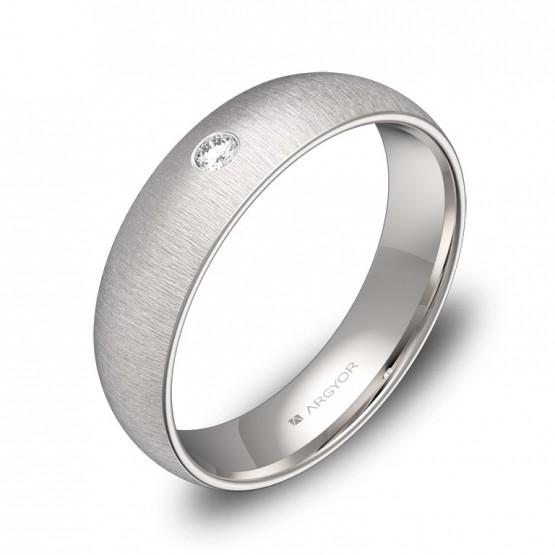 Alianza de oro blanco rayado con diamante A0150T1BB