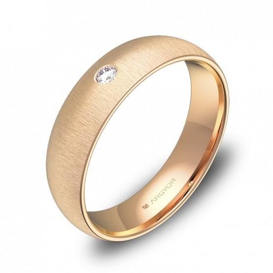 Alianza de media caña gruesa 5mm oro rosa con diamante A0150T1BR