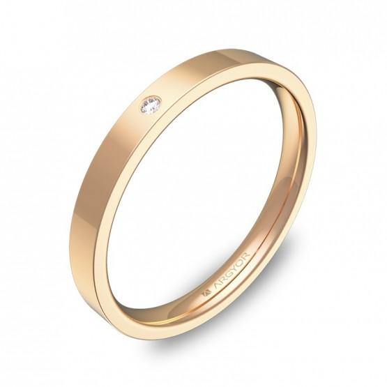 Alianza de boda plana gruesa en oro rosa pulido 1 diamante B0125P1BR