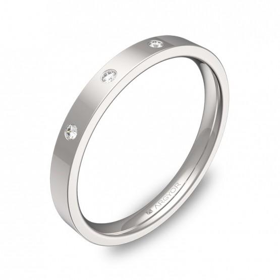 Alianza de boda 2,5mm oro blanco pulido con diamantes B0125P3BB