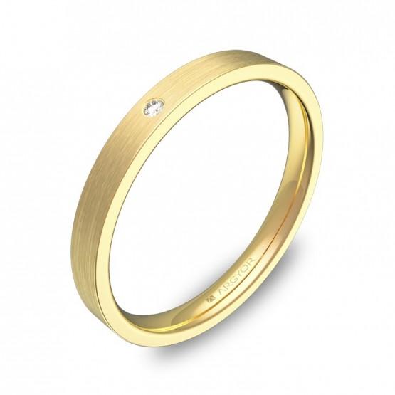 Alianza de boda 2,5mm en oro amarillo satinado y diamante B0125S1BA