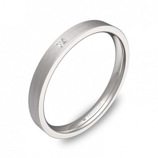 Alianza de boda en oro blanco satinado con diamante B0125S1PB