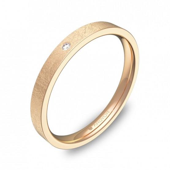 Alianza de boda en oro rosa efecto hielo y un diamante B0125H1BR