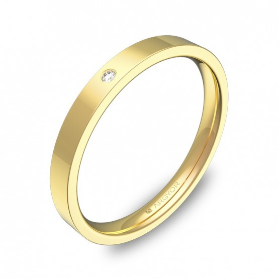 Alianza de boda plana gruesa 2,5mm oro pulido con diamante B0125P1BA