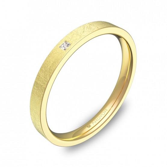 Alianza de boda plana gruesa en oro hielo con diamante B0125H1PA