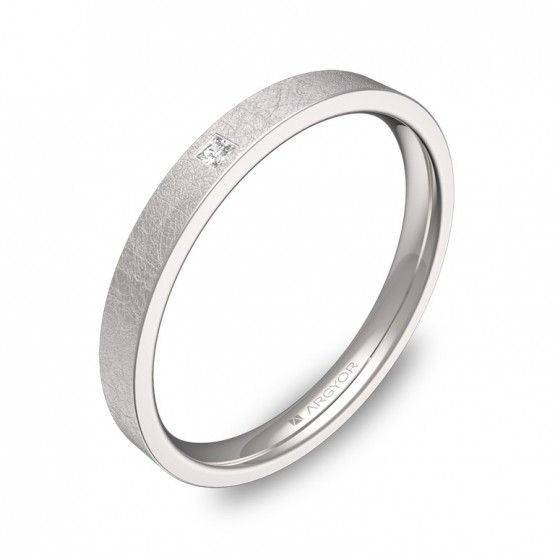 Alianza de boda en oro blanco 2,5mm con diamante B0125H1PB