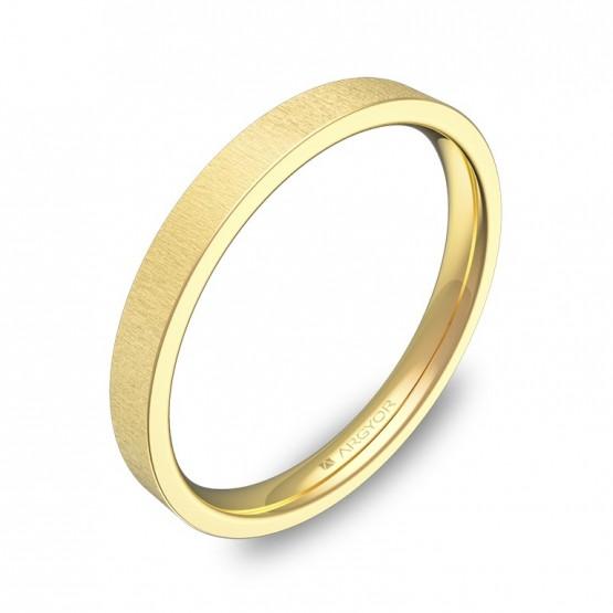 Alianza de boda plana gruesa 2,5mm en oro amarillo rayado B0125T00A