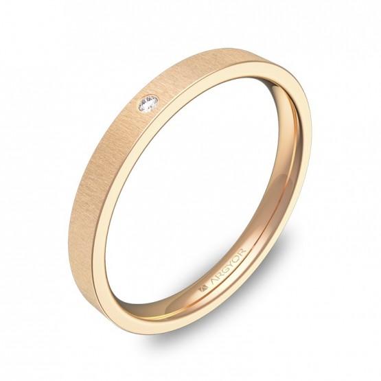 Alianza de boda plana gruesa oro rosa rayado con diamante B0125T1BR