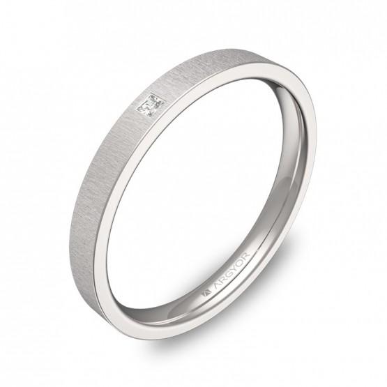 Alianza de boda 2,5mm oro blanco rayado con diamante B0125T1PB