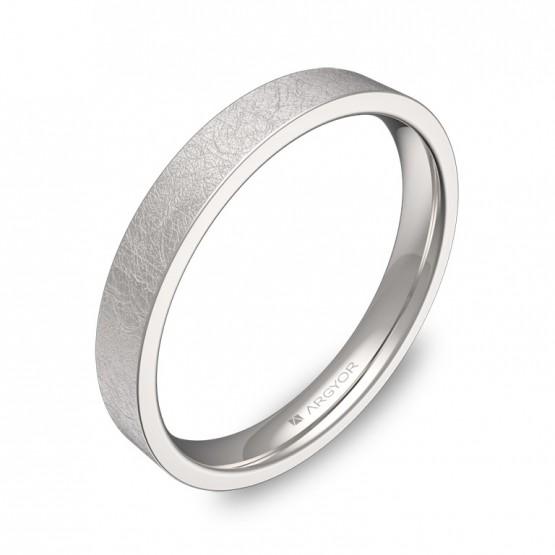 Alianza de boda plana gruesa 3,0mm en oro blanco hielo B0130H00B
