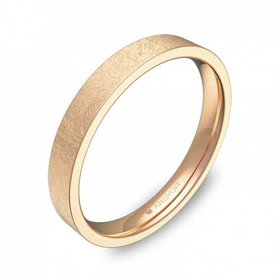 Alianza de boda plana gruesa 3,0mm en oro rosa hielo B0130H00R