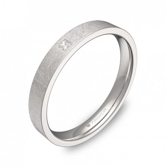 Alianza de boda en oro blanco hielo con diamante B0130H1PB