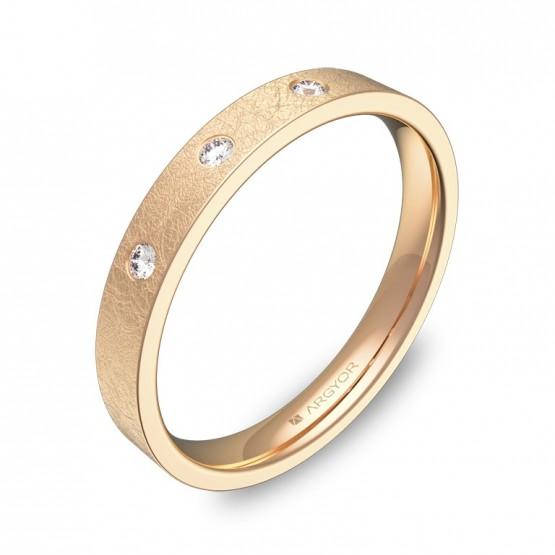 Alianza de boda oro rosa hielo con diamantes B0130H3BR