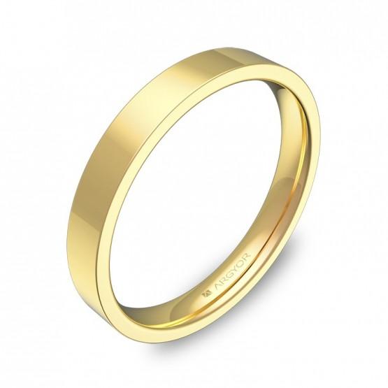 Alianza de boda plana gruesa 3,0mm en oro amarillo pulido B0130P00A