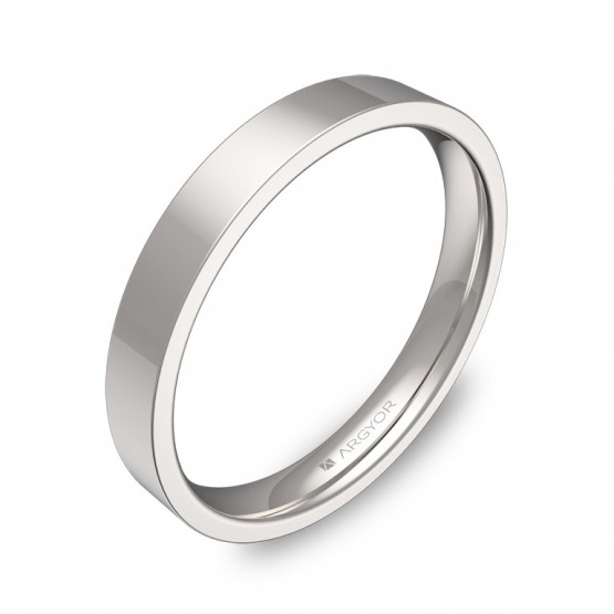 Alianza de boda plana gruesa 3,0mm en oro blanco pulido B0130P00B