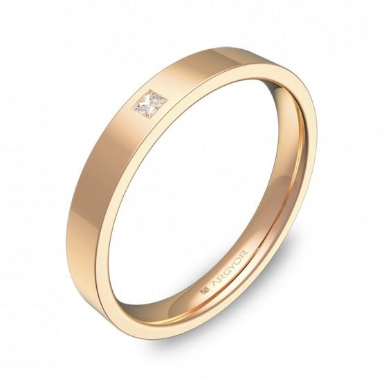 Alianza de boda 3mm en oro rosa pulido con diamante B0130P1PR