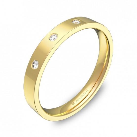 Alianza de boda 3,0mm en oro amarillo con diamantes B0130P3BA