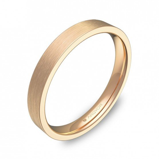 Alianza de boda plana gruesa 3,0mm en oro rosa satinado B0130S00R