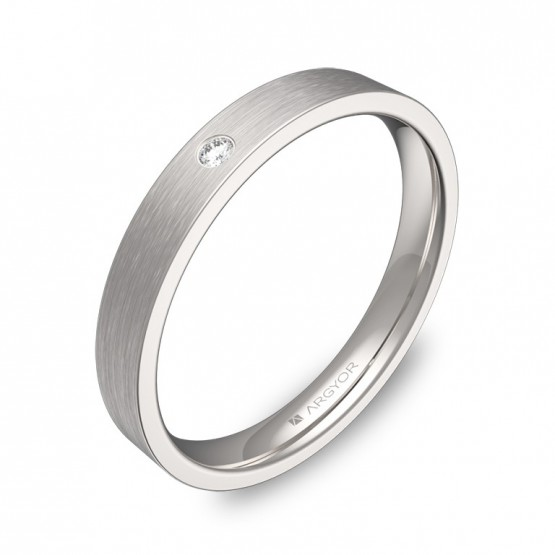 Alianza de boda oro blanco satinado 3mm. Con diamante B0130S1BB