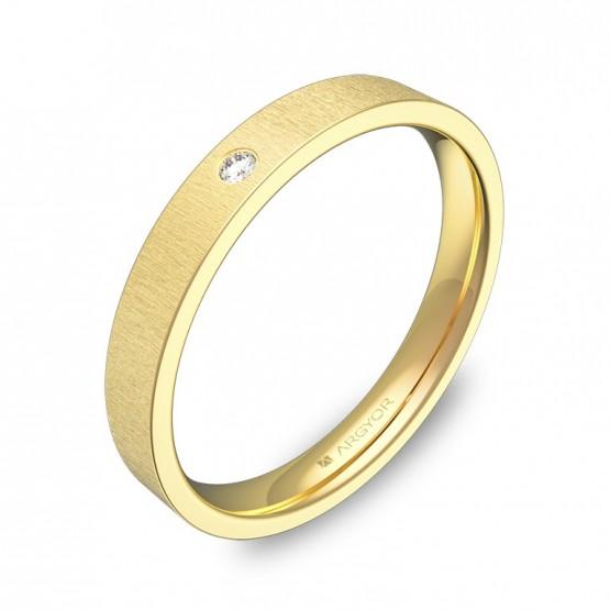 Alianza de boda plana gruesa en oro amarillo con diamante B0130T1BA