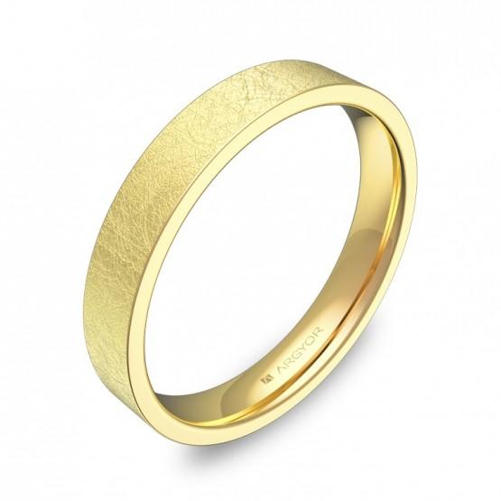 Alianza de boda plana gruesa en oro amarillo acabado hielo B0135H00A