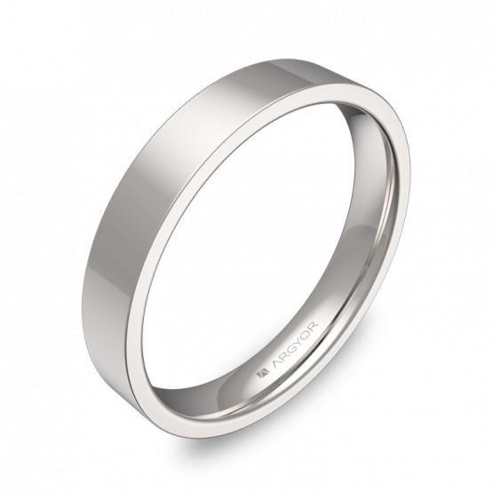 Alianza de boda plana gruesa 3,5mm en oro blanco pulido B0135P00B