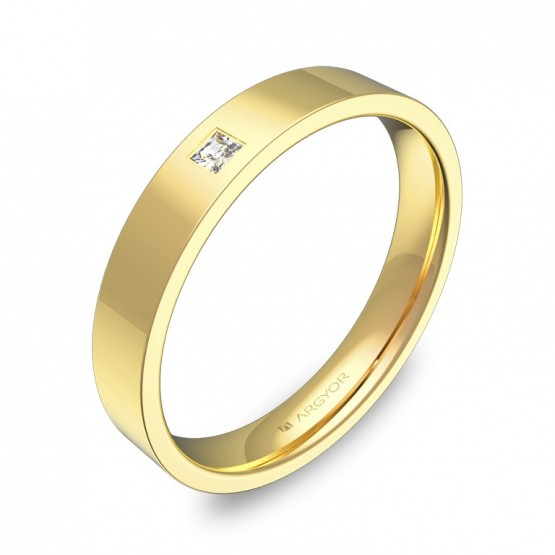 Alianza de boda en oro amarillo plana gruesa con diamante B0135P1PA
