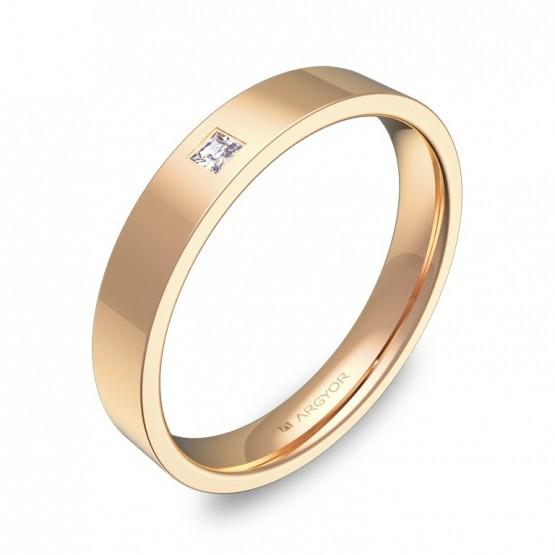 Alianza de boda 3,5mm en oro rosa pulido con diamante B0135P1PR
