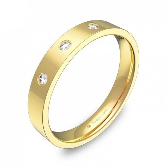 Alianza de boda de oro pulido plana gruesa con diamantes B0135P3BA