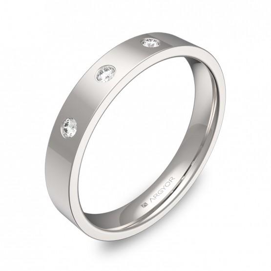 Alianza de boda 3,5mm en oro blanco pulido con diamantes B0135P3BB