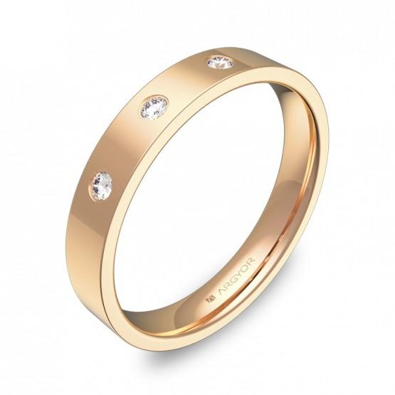 Alianza de boda 3,5mm oro rosa pulido con diamantes B0135P3BR